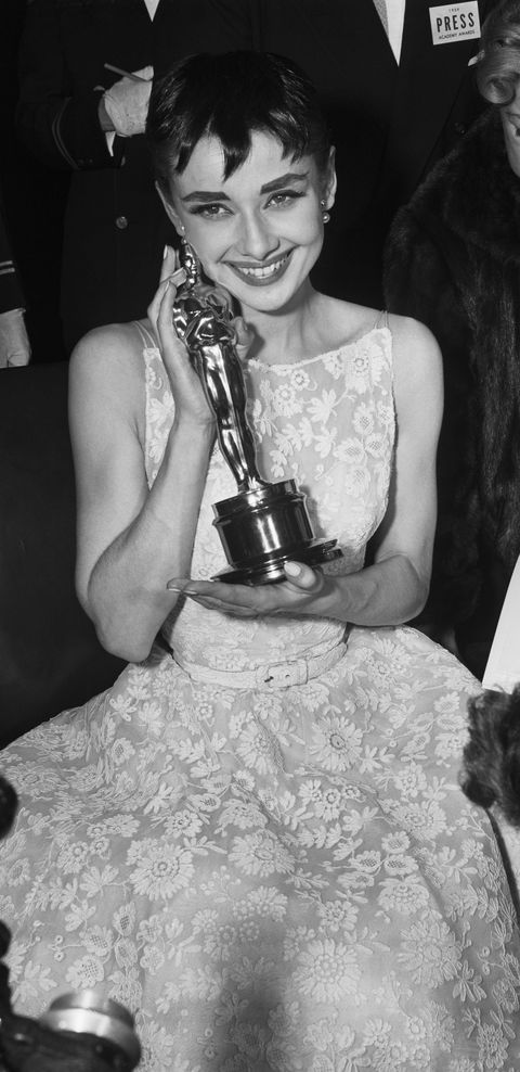 Audrey Hepburn Holding Oscar