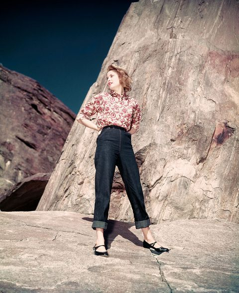 Photograph, Rock, Beauty, Jeans, Skin, Tree, Fashion, Sky, Blond, Denim,