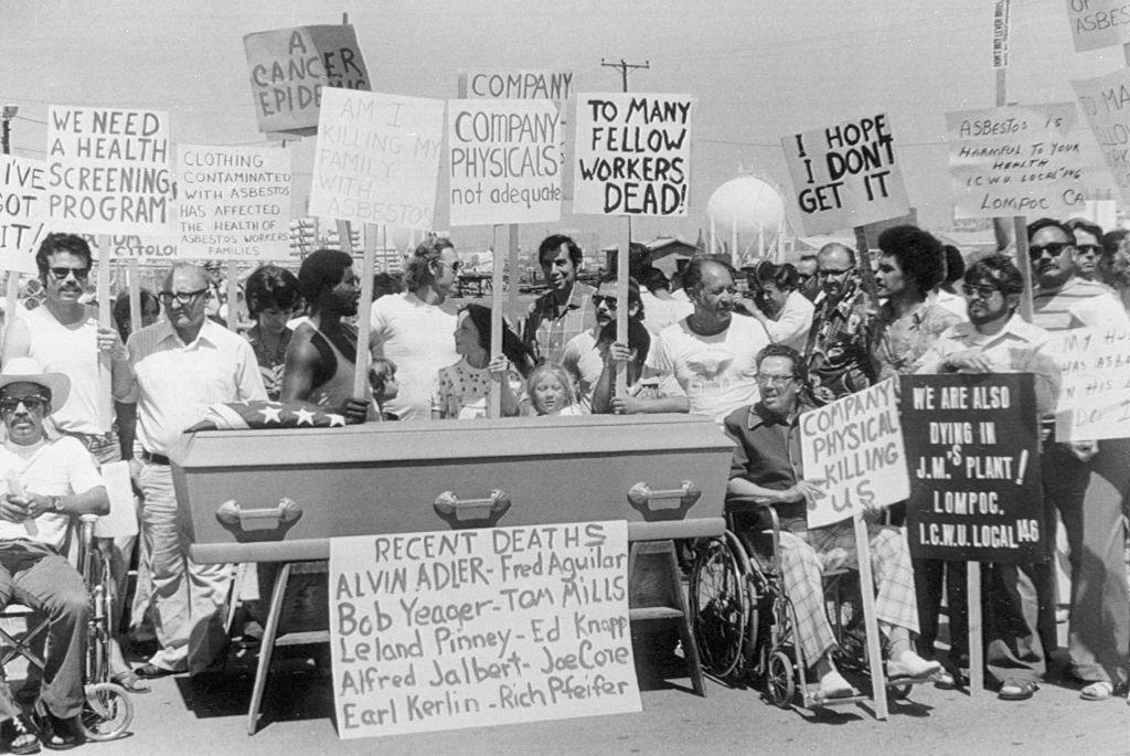asbestos worker protest