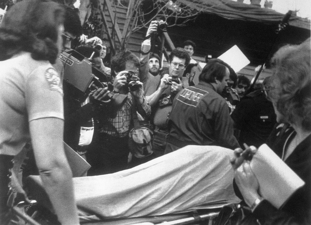 The body of actor John Belushi being taken from the Chateau Marmont, 1982.