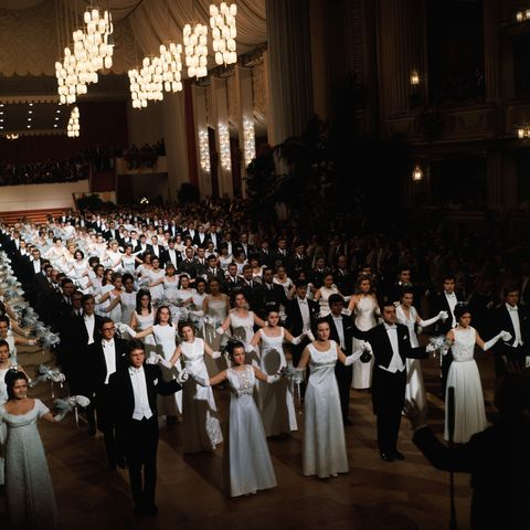original caption vienna, austria the vienna statsoper, state opera, held an opera ball at which debutantes were presented white clad debutantes and their escorts open the ball