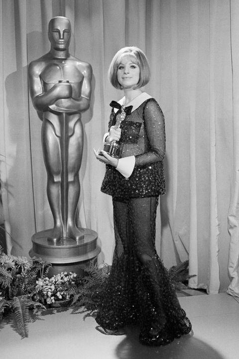 Barbra Streisand with an Oscar