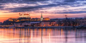 The very colorful sunset in Bratislava