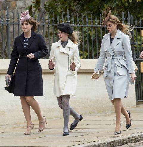 windsor, england   march 27  princess eugenie and princess beatrice with lady louise windsor attend the easter sunday service at st georges chapel on march 27, 2016 in windsor, england  photo by mark cuthbertuk press via getty images