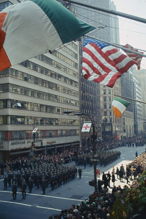 View of St Patrick's Day Parade Along Fifth Avenue