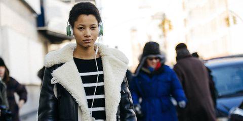 Street fashion, Fur, Fashion, Snapshot, Fur clothing, Outerwear, Street, Textile, Coat, Photography,