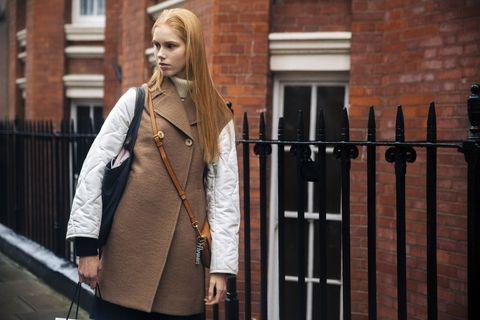 Street fashion, Clothing, Fashion, Trench coat, Coat, Outerwear, Blond, Dress, Jacket, Photography,