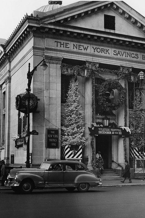 New York Savings Bank Decorated For Christmas