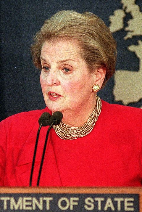 US Secretary of State Madeleine Albright speaks to