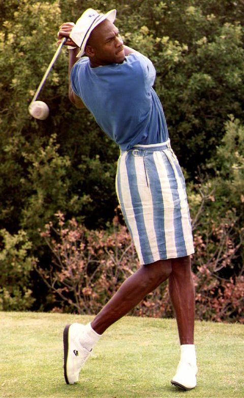 la turbie, france   july 22  us basketball player michael jordan swings a golf club at the monte carlo golf club 22 july, 1992 jordan will participate in the 25th olympic games in barcelona  photo credit should read jacques sofferafp via getty images