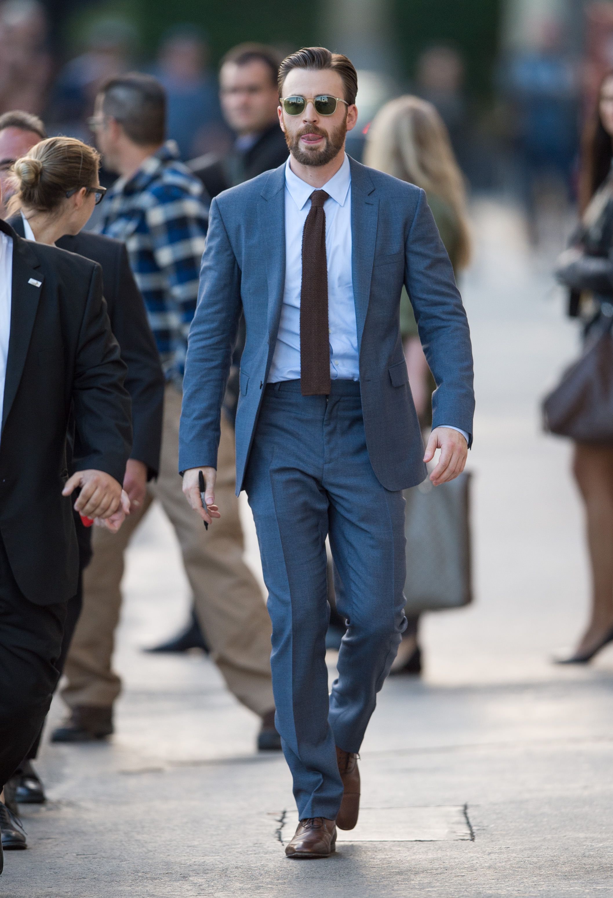 Chris Evans The easiest way to bring your suit into spring is with color.
