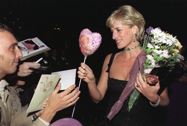 london, united kingdom   july 01  cards and balloons for diana, princess of wales at the tate gallery on her 36th birthday on 1st july 1997 for a gala to celebrate the tates 100th birthday she is wearing a black evening dress by  jacques azagury  photo by tim graham photo library via getty images