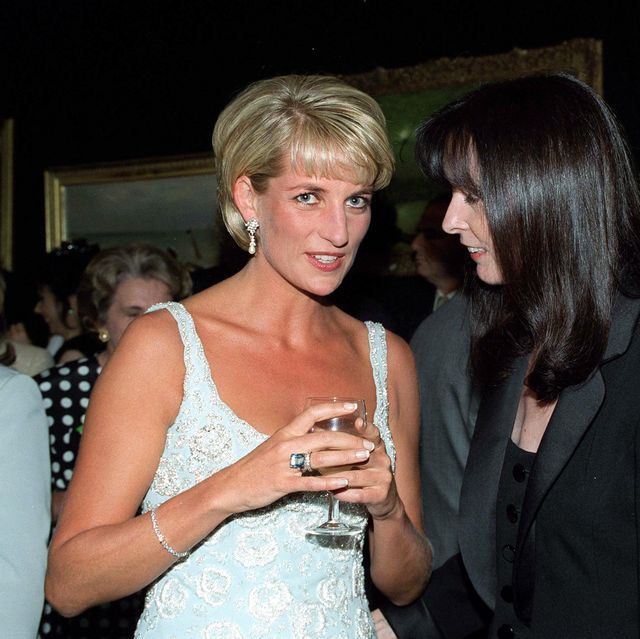 london, united kingdom   june 02  diana, princess of wales, talking with her friend dress designer catherine walker at a private viewing and reception at christies in aid of the aids crisis trust and the royal marsden hospital cancer fund  photo by tim graham photo library via getty images