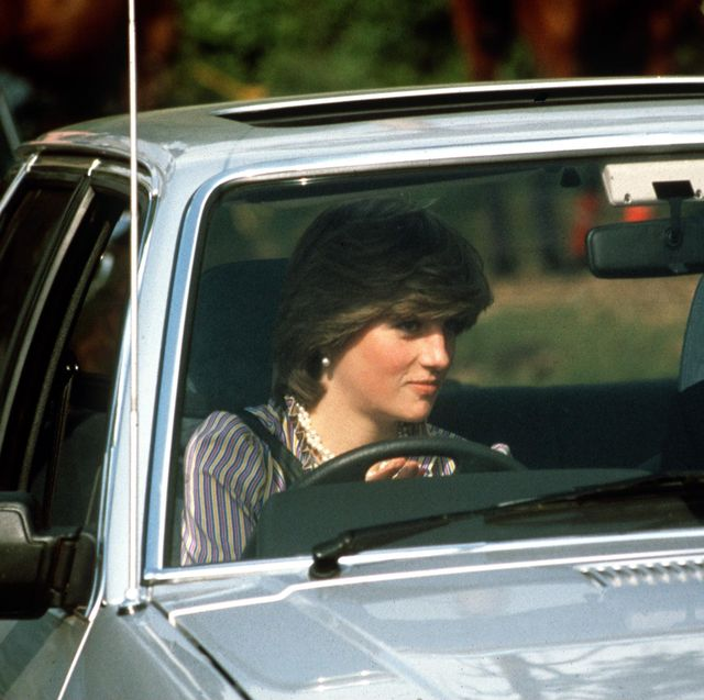 windsor, united kingdom   june 16  lady diana spencer driving her ford escort car at the guards polo club  bodyguard colin trimming accompanies her  photo by tim graham photo library via getty images