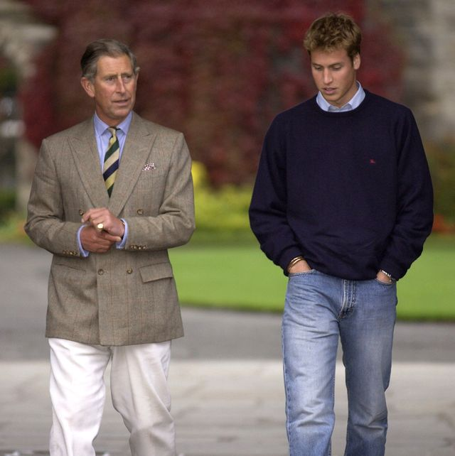 st andrews, scotland   september 23  prince william, dressed casually in jeans, blue jumper and trainers, arriving at st andrews university in scotland  he and his father, prince charles, are walking together towards saint salvators hall of residence where william will be staying  photo by tim graham photo library via getty images