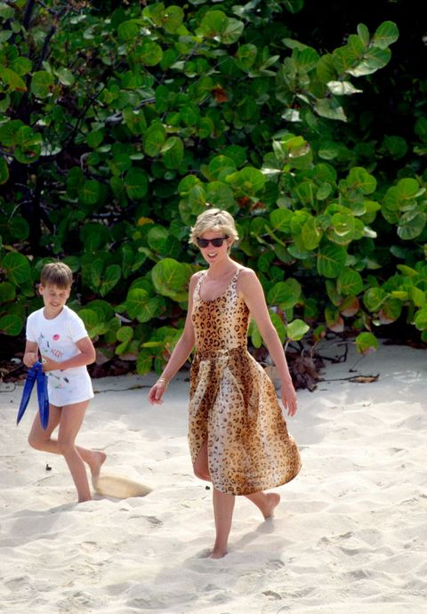 necker island   april 11  diana princess of wales with prince william on a beach holiday in necker  photo by tim graham photo library via getty images