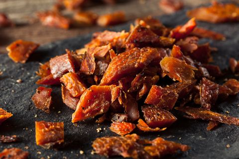 dried smoked salmon jerky with salt and pepper