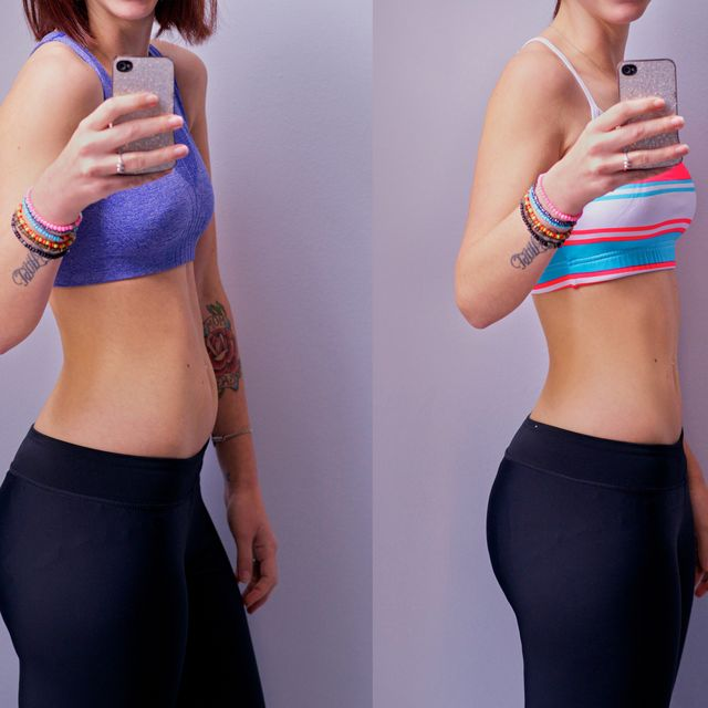shot of a woman before and after her diet