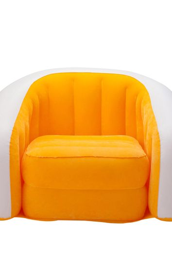inflatable orange color armchair isolated on white  background
