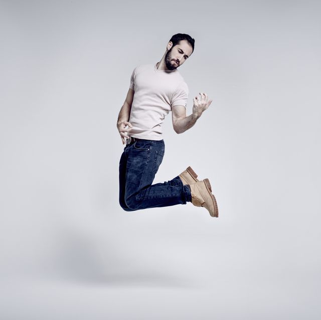 Jumping, White, Blue, Standing, Fun, Joint, Jeans, Denim, Leg, Photography,