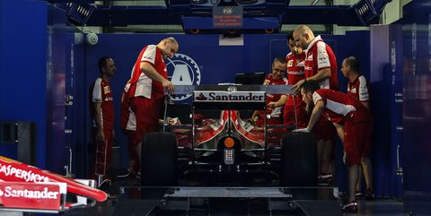 scuderia ferrari f1 team car is under official inspection by fia ahead of malaysian formula one grand prix at sepang interational circuit sic in malaysia on 26 march 2015 malaysian formula one grand prix will take place on 29 march 2015 photo by ahmad yusninurphoto photo by nurphotonurphoto via getty images