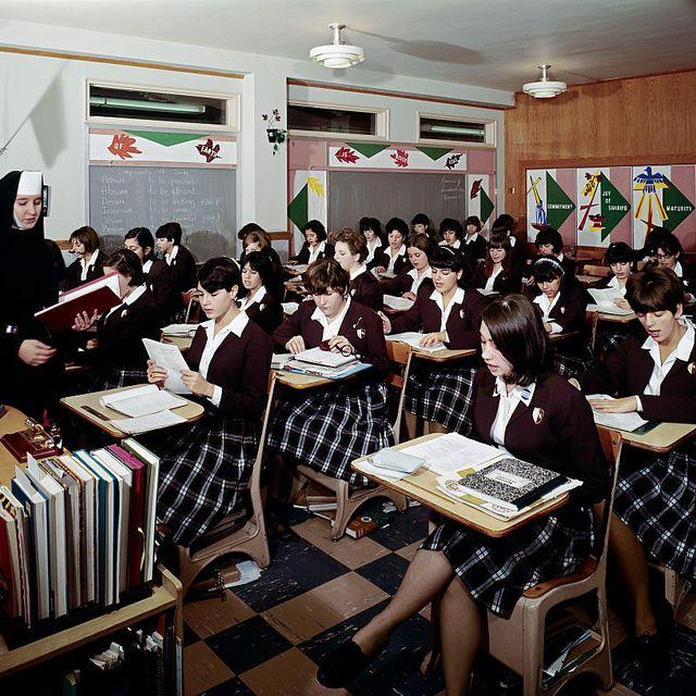 teenage girls in st john villa academy catholic school classroom