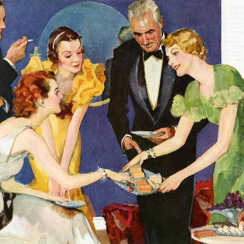 vintage illustration of a hostess serving cheese and crackers to her guests at a cocktail party screen print, 1933 photo by graphicaartisgetty images