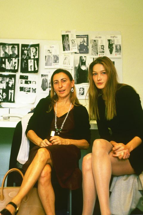 Miuccia Prada with Carla Bruni