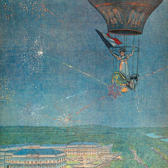 Sky, Illustration, Art, Hot air balloon, Landscape, Leisure, Painting,