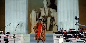 Aretha Franklin performs at the Lincoln Memorial