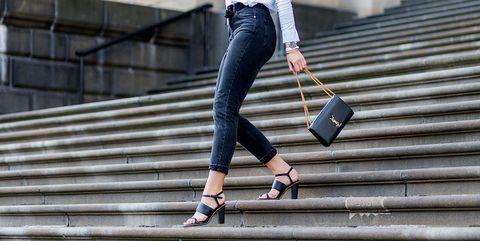 Footwear, Leg, Human body, Stairs, Human leg, Bag, Shoe, Outerwear, Style, Street fashion,