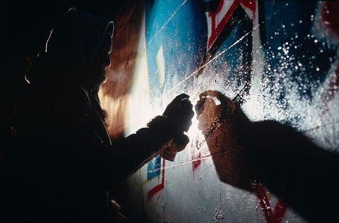 England - London - Graffiti Being Sprayed