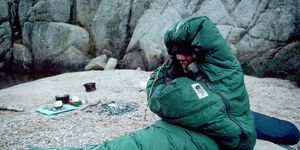 Camper in Sleeping Bag Awakens