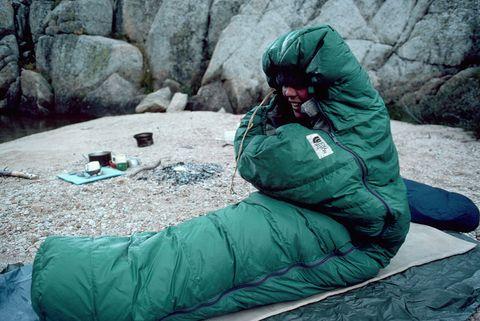 Camper in Sleeping Bag Awakens