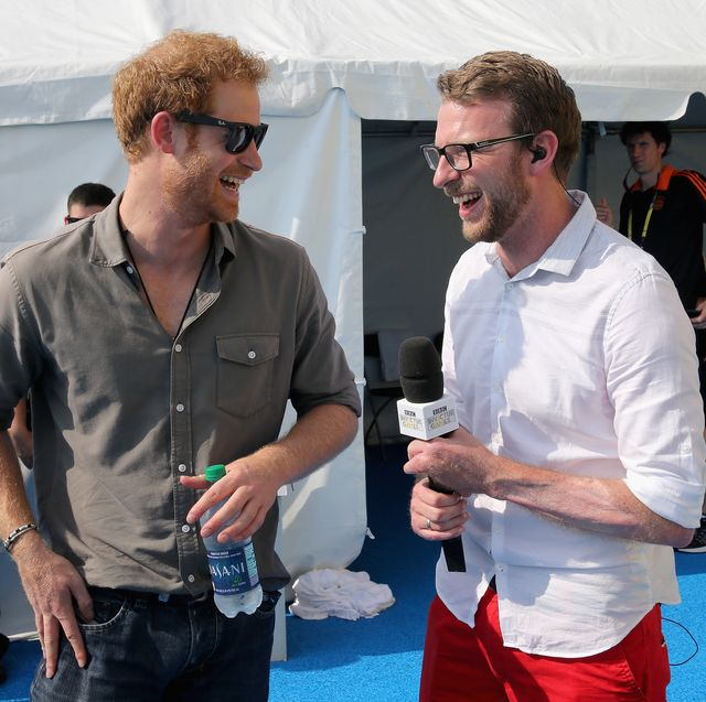 orlando, fl   may 11  prince harry chats with former competitor and now commentator jj chalmers outside the competitors tent at the swimming pool during the invictus games orlando 2016 at espn wide world of sports on may 11, 2016 in orlando, florida prince harry, patron of the  invictus games foundation is in orlando for the invictus games 2016 the invictus games is the only international sporting event for wounded, injured and sick servicemen and women started in 2014 by prince harry the invictus games uses the power of sport to inspire recovery and support rehabilitation  photo by chris jackson   wpa pool getty images for invictus