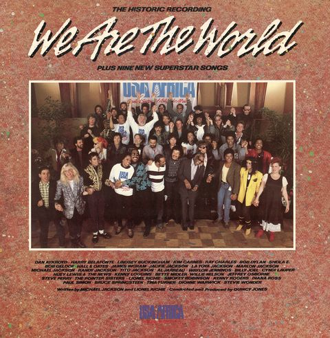 front cover of the 'usa for africa we are the world' record album, the music on which was designed to raise awareness and funds for a worldwide hunger relief program, 1985 the sleeve features a group photograph of the number of the contributing performers the records success led the way for the live aid concerts later that year photo by blank archivesgetty images