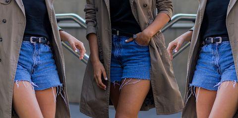 Clothing, Denim, Leg, Street fashion, Fashion, Jeans, Human leg, Thigh, Shorts, Waist,