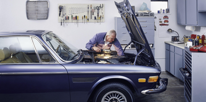 Senior Man Working on His Car