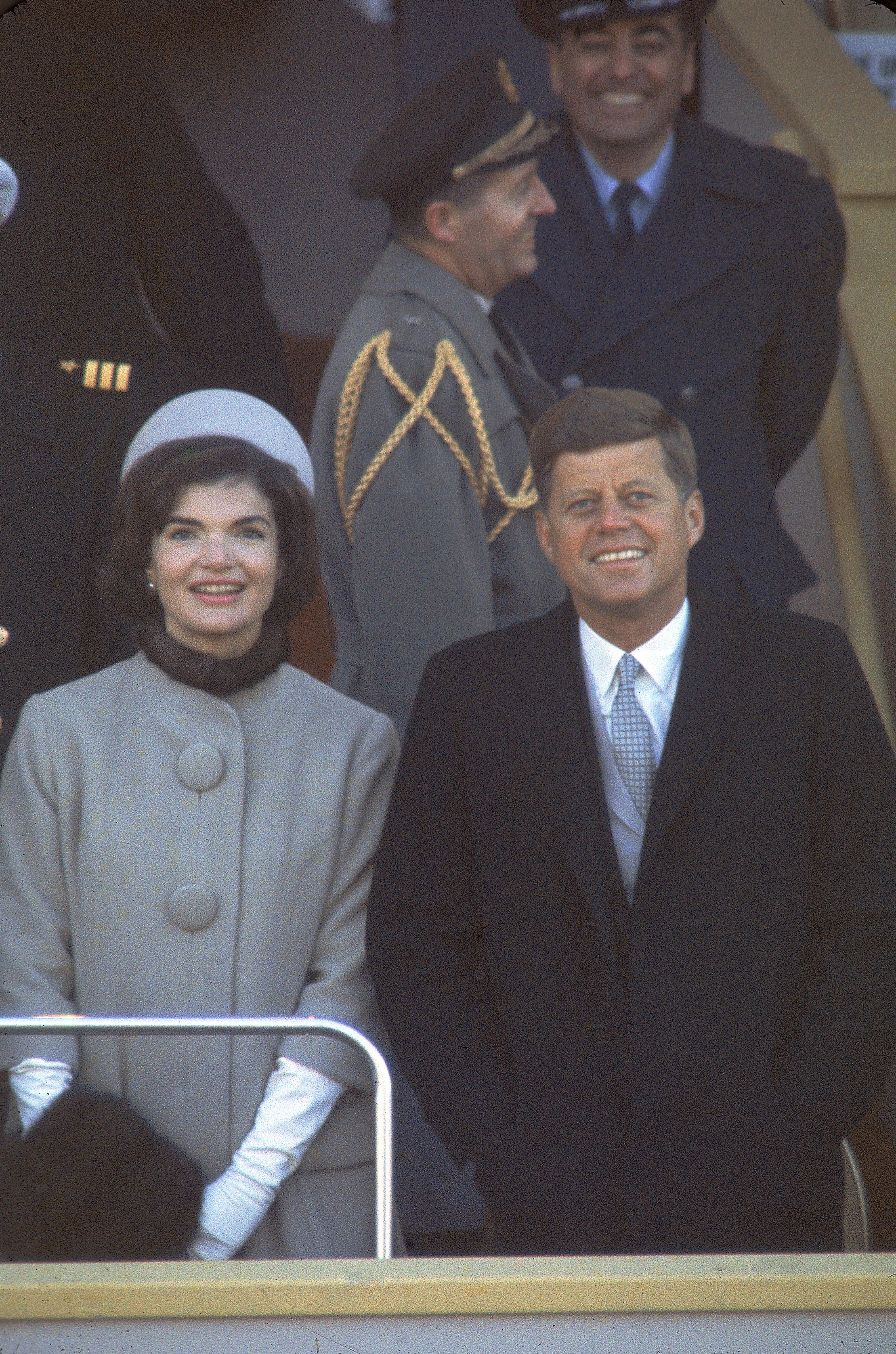 Jacqueline Kennedy stands along side her husband at his inauguration.