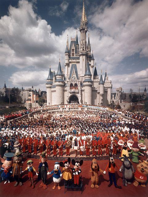 Walt disney world, Crowd, People, Landmark, Sky, Amusement park, Recreation, Tourism, Park, World,