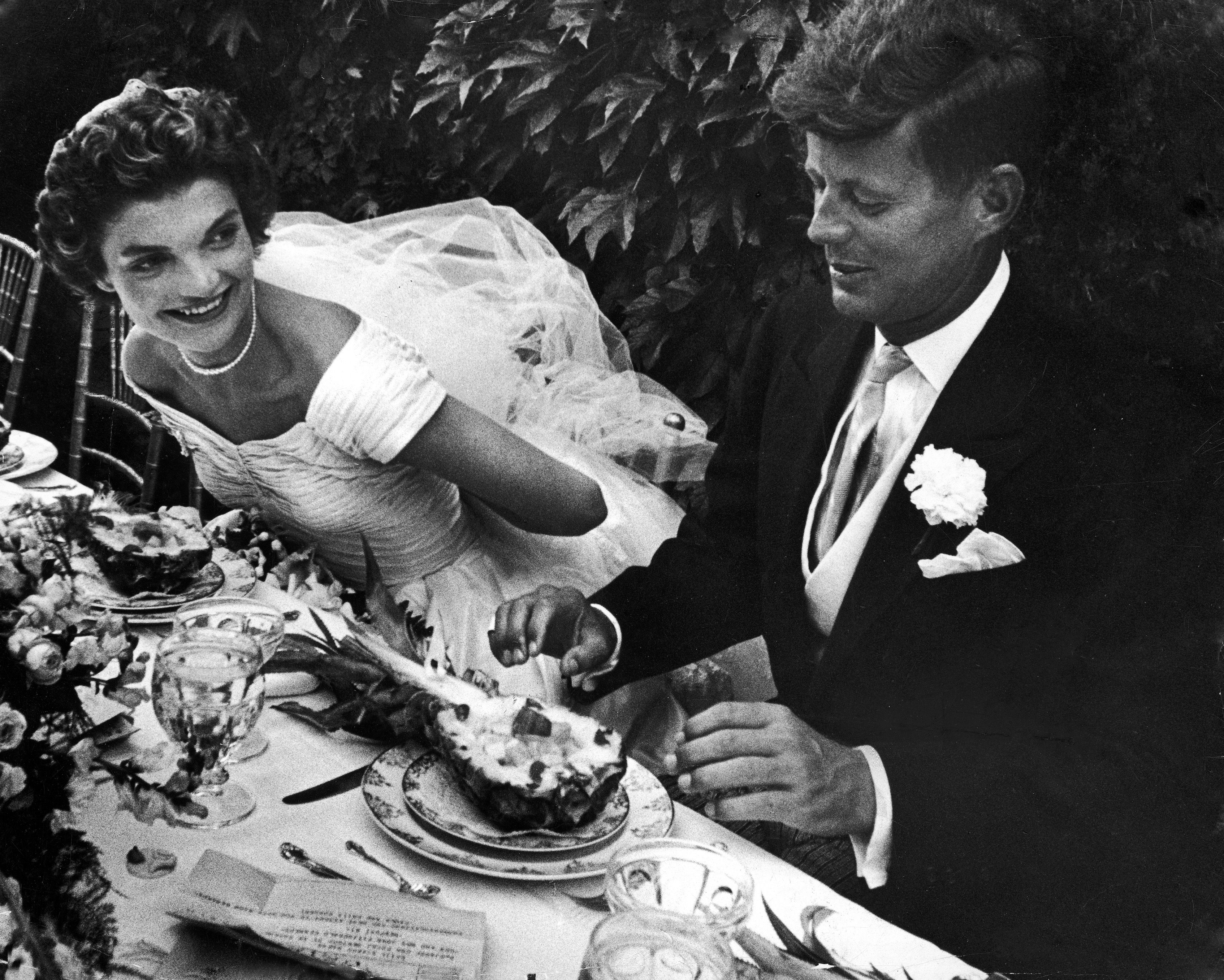 John and Jackie Kennedy at their wedding in Newport, Rhode Island.