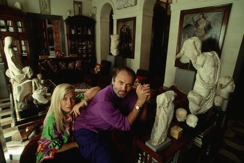 fashion designer donatella versace and her brother gianni sit among the artworks they have collected in their home in milan photo by © stephanie mazecorbiscorbis via getty images