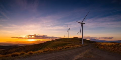 Sky, Wind turbine, Windmill, Wind farm, Wind, Sunset, Cloud, Highland, Morning, Evening,