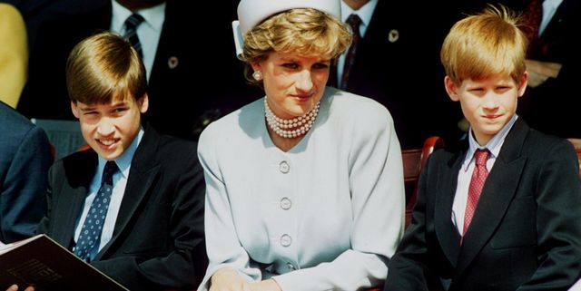 london   may 7 file photo princess diana, princess of wales with her sons prince william and prince harry attend the heads of state ve remembrance service in hyde park on may 7, 1995 in london, england   photo by anwar husseingetty images