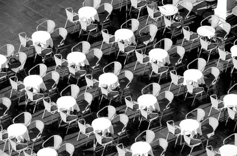 outdoor coffee tables seen from above in european cities