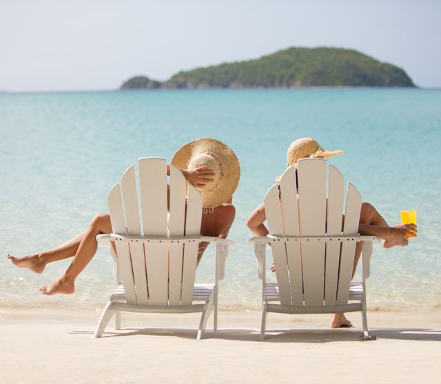 two women on vacation at the beach