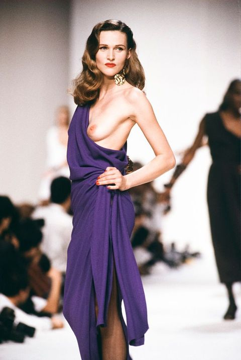 ysl , saint laurent , saint laurent 1990 , ysl 1990 , spring summer , purple gown, ysl purple gown , boob out , topless ,
