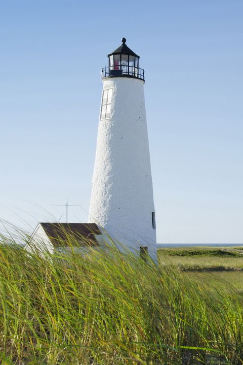 Lighthouse, Tower, Beacon, Shore, Sea, Sky, Water, Inlet, Calm, Grass,