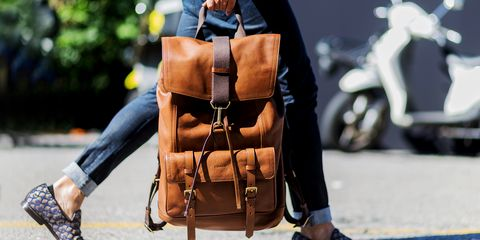 Street fashion, Product, Bag, Fashion, Brown, Leather, Outerwear, Backpack, Luggage and bags, Recreation,
