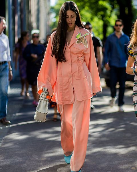 Fashion, Clothing, Street fashion, Orange, Fashion model, Pink, Fashion show, Outerwear, Shoulder, Human,